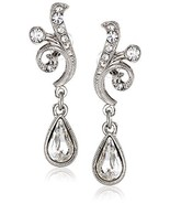 1928 Jewelry Silver-Tone Crystal Scroll Teardrop Earrings - $27.72