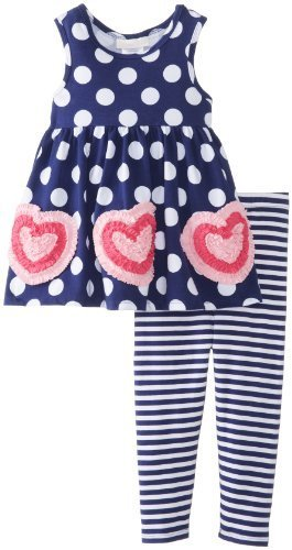 Bonnie Baby Baby-Girls Infant Bonaz Hearts On Knit Top with Dots Stripe Capri...