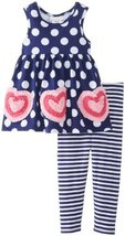 Bonnie Baby Baby-Girls Infant Bonaz Hearts On Knit Top with Dots Stripe Capri...