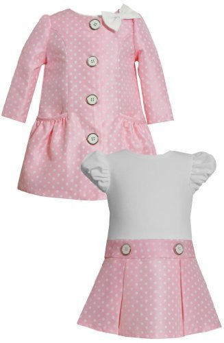 Bow Shoulder Ruched Pocket Dot Print Jacquard Dress/Coat Set PK0SA, Pink, Bon...