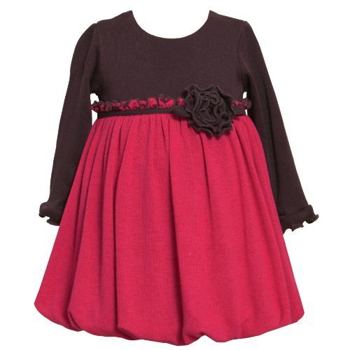 Size-12M BNJ-1509B FUCHSIA-PINK BROWN COLOR BLOCK KNIT BUBBLE SKIRT Special O...