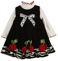 Bonnie Baby-Girls Newborn Corduroy Jumper Set With Cherry Bonaz Trim, Black/W...