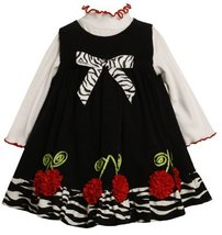 Bonnie Baby Girls' Corduroy Jumper Set With Cherry Bonaz Trim, Black/White, 1...