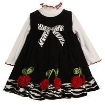Bonnie Baby Girls' Corduroy Jumper Set With Cherry Bonaz Trim, Black/White, 2...
