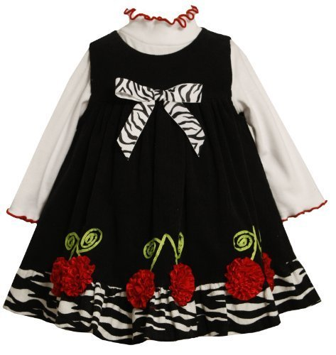 Bonnie Jean Little Girls' Corduroy Jumper With Bonaz Flowers, Black, 2T Bonni...
