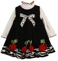 Bonnie Jean Little Girls' Corduroy Jumper With Bonaz Flowers, Black, 2T Bonni...