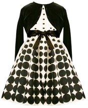 Bonnie Jean Little Girl Polka Dot Dress With Cardigan Ivory/Black 5 [Apparel]