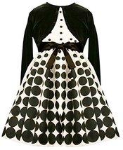 Bonnie Jean Little Girl Polka Dot Dress With Cardigan Ivory/Black 6X [Apparel]