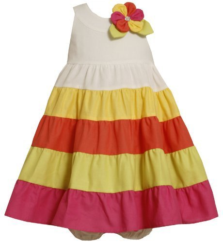 Bonnie Baby Girls' Colorblock Sundress, Multi, 12 Months [Apparel]