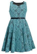 Tween Girls 7-16 Jade-Green Black Bonded Lace Belted Dress, Jade, 7 [Apparel]