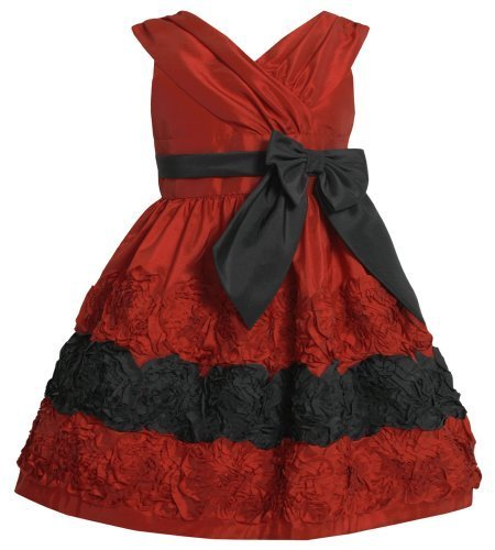 Red Black Cross Over Bonaz Rosette Border Taffeta Dress RD2BA Bonnie Jean Tod...