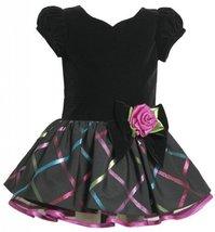 Black Sweetheart Neckline Multi Metallic Plaid Dress BK1MH Bonnie Jean Baby-I...