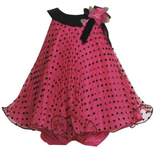 Fuchsia Black Flock Dot Crystal Pleat Trapeze Dress FU0SA Bonnie Jean Baby-Ne...