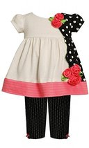 Bonnie Jean Baby 3M-9M Black White Solid and Dot Print Knit Dress / Legging S...