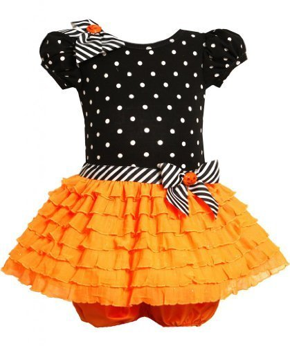 Orange Black Dotted Knit to Glitter Eyelash Ruffle Dress OR0SA, Bonnie Jean B...