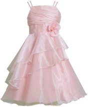 Pink Double Strap Asymmetric Tier Organza Overlay Dress PK4BA, Pink, Bonnie J...