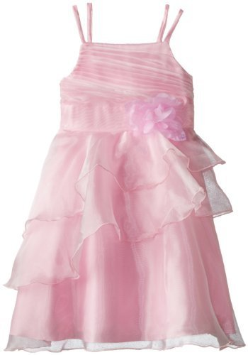 Bonnie Jean Big Girls' Sleeveless Solid Organza Dress with Side Cascade Skirt...