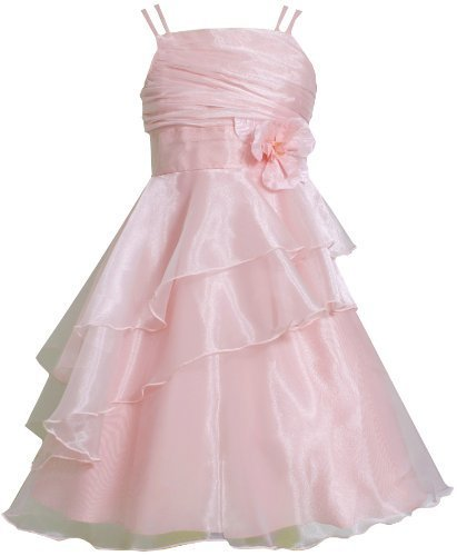 Pink Double Strap Asymmetric Tier Organza Overlay Dress PK4TA, Pink, Bonnie J...