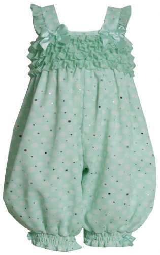Baby Girls 3M-24M Mint-Green White Dots and Ruffles Sparkle Chiffon Romper (2...