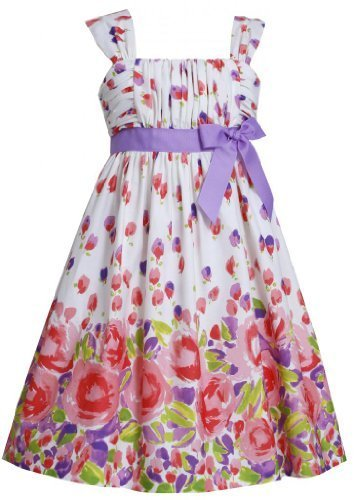 Purple Ruched Bodice to Multi Floral Border Print Dress PU3NA, Purple, Bonnie...