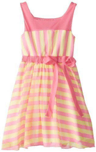 Bonnie Jean Little Girls' Chiffon Stripe Dress, Pink, 5 [Apparel]
