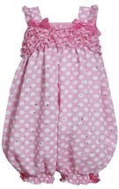 Pink and White Dots and Ruffles Sparkle Chiffon Romper PK0BA, Pink, Bonnie Je...