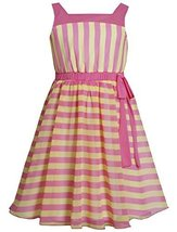 Bonnie Jean Little Girls' Chiffon Stripe Dress, Pink, 6 [Apparel]