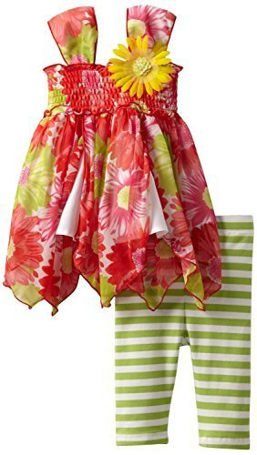 Bonnie Jean Little Girls Toddler Floral Hanky-Hem Legging Set (2T, Green)
