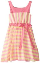 Bonnie Jean Little Girls' Chiffon Stripe Dress, Pink, 6x [Apparel]