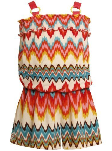 Bonnie Jean Little Girls 4-6X Multicolor Zig Zag Print Knit Romper (6X, Multi)
