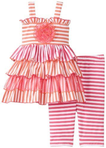 Orange Pink Stripe Knit Tier Dress/Legging Set OR0BA, Orange, Bonnie Jean Bab...