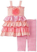 Orange Pink Stripe Knit Tier Dress/Legging Set OR0SA, Orange, Bonnie Jean Bab...