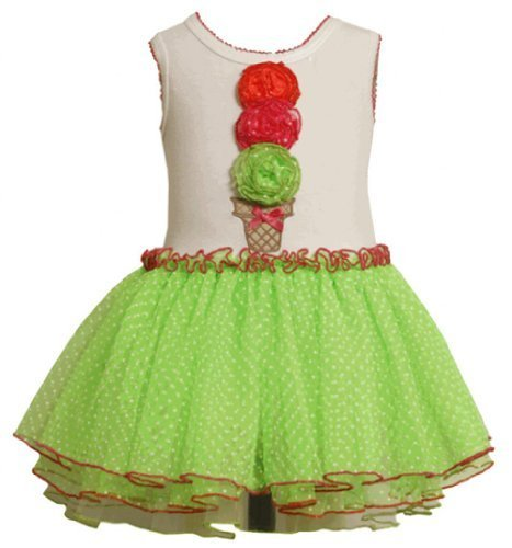 Size-24M, Lime, BNJ-2363S, Lime-Green Ice Cream Cone Flock Dot Tutu Dress,Bon...