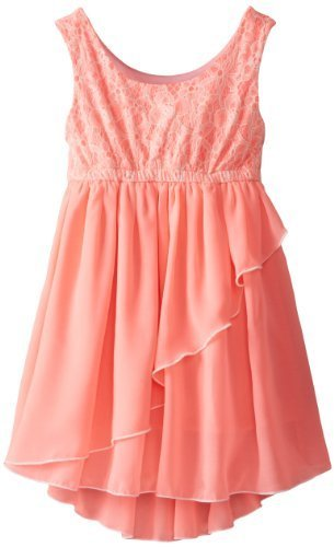 Bonnie Jean Little Girls' Burnout Knit To Chiffon, Coral, 4 [Apparel] Bonnie ...