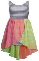 Little Girls 2t-6X Grey Stripe Knit to Colorblock Chiffon High-Low Dress (4, ...