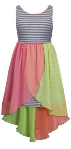 Little Girls 2T-6X Grey Stripe Knit to Colorblock Chiffon High-Low Dress (4T,...