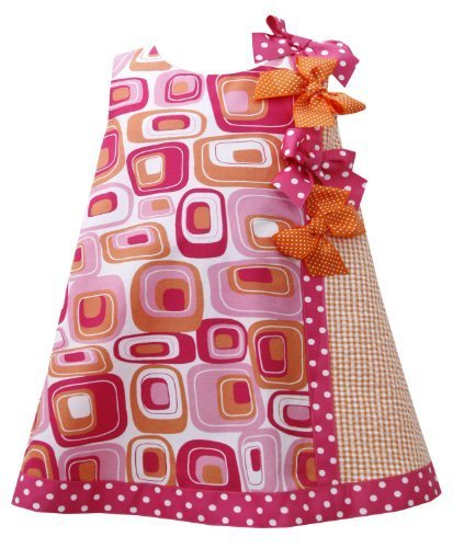 Fuchsia-Pink Orange Dotted Bows Geometric Print Shift Dress FU1MT, Fuchsia, B...