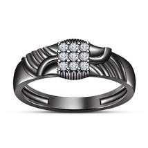 Round Cut Created Diamond Wedding Nine Stone Ring 925 Sterling Silver Jewelry - £55.82 GBP