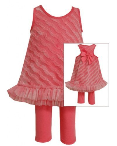 Size-4T, White, BNJ-2357S, 2-Piece Fuchsia-Pink Bias Ruffle Mesh Dress and Le...