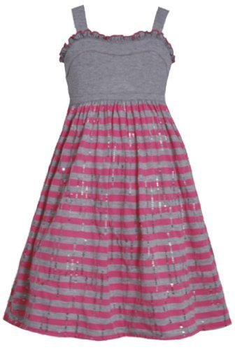 Grey Pink Solid and Stripe Sequin Knit Dress GY3BU, Grey, Bonnie Jean Little ...