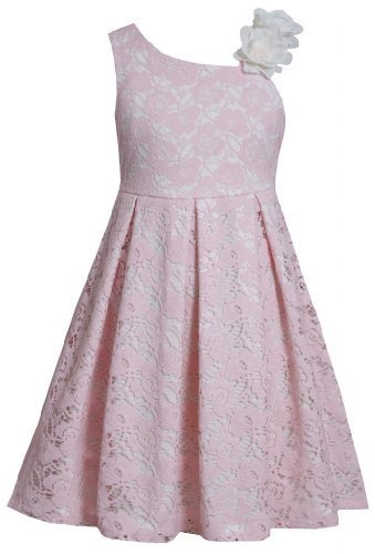 Pink Asymmetric Neckline Sequin Flower Lace Overlay Dress PK3BU, Pink, Bonnie...
