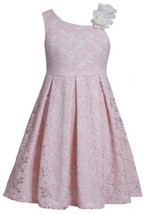 Pink Asymmetric Neckline Sequin Flower Lace Overlay Dress PK3BU, Pink, Bonnie...