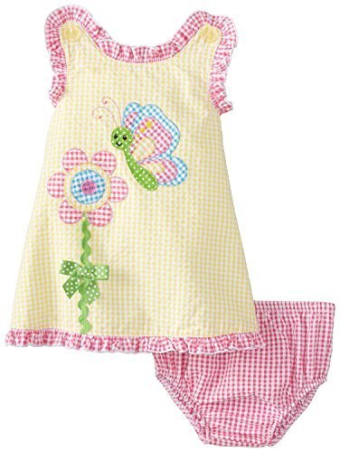 Bonnie Baby Baby-Girls Infant Flower Applique Seersucker Dress (24 Months, Ye...