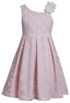 Pink Asymmetric Neckline Sequin Flower Lace Overlay Dress PK3NA, Pink, Bonnie...