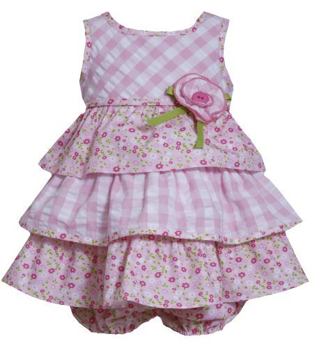 Bonnie Baby Baby Girls' Seersucker Check and Floral Print Dress, Pink, 18 Months