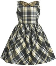 Gold Black Embellish Collar Metallic Plaid Taffeta Dress GD3BU Bonnie Jean Li...