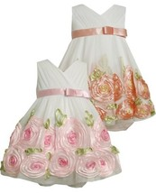 Baby-Girls Newborn Organza Bonaz Rose Border Dress 0IVCH, Ivory, Bonnie Jean ...