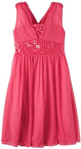 Bonnie Jean Big Girls' Fuchsia Sequin Trim Dress, Pink, 12 [Apparel]