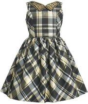 Gold Black Embellish Collar Metallic Plaid Taffeta Dress GD3NA Bonnie Jean Li...