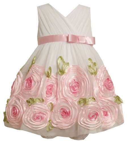 2-Piece Ivory Pink Cross Over Bonaz Rosette Border Mesh Dress IV1HB, Bonnie J...